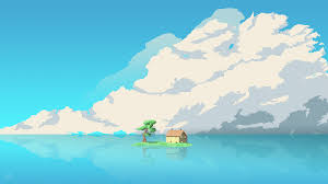 8 bit artwork house island in middle of water