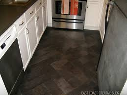 diy herringbone tile floor using l stick vinyl knock it off east coast creative blog