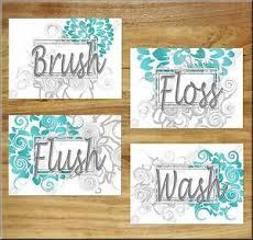 Shop for grey wall decor at bed bath & beyond. Wash Brush Flush Floss Turquoise Gray Teal Bathroom Wall Art Prints Decor Floral Ebay