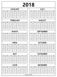 yearly printable calendar 2018 2018 calendar printable free pdf template with holidays uk nz usa