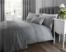 new double duvet set grey silver sequin luxury quilt cover bed set