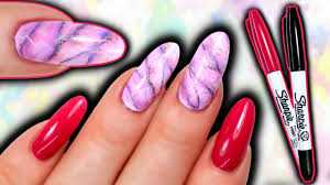 SHARPIE NAIL ART | How To Sharpie Marble Nails | Watercolour ...