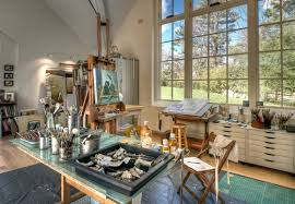 ... serene home art studio idea with high glass windows also compact  workstation and drafting table ...