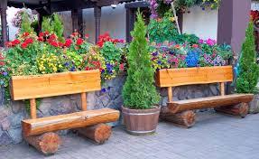 garden seating. 2. Rustic Split-Log Benches Garden Seating