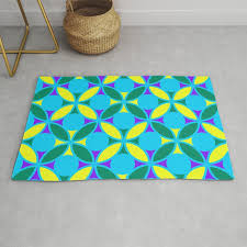 geometric fl circles vibrant color challenge in bold purple yellow green turquoise blue rug