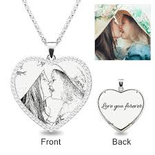 heart laser engraved personalized photo necklace with stones sterling silver jeulia jewelry