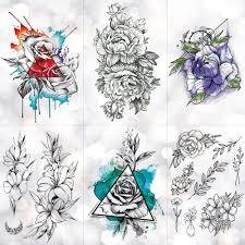 треугольник струйная роза водонепроницаемый временные татуировки наклейки