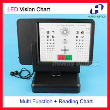 Double Vision Test Chart Letter Tumbling E Number Red Green And Reading Chart Led Backlight Multifunction Near Vision Chart Double Side Display