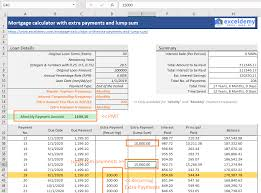 Mortgage Extra Payment Mortgage Calculator With Extra Payments And Lump Sum Excel Template