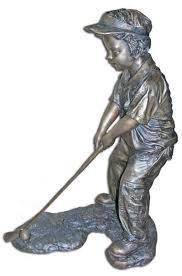 bronze boy golfer statue bronze