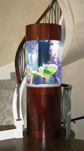 Creative Idea:Tall Cylinder Modern Fish Tank Near White Spiral Modern  Staircase 12 Unique and