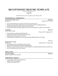 Receptionist Resumes Samples Haadyaooverbayresort Com