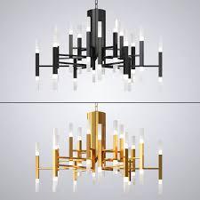gold and black chandelier creative lights 3d model max obj fbx mtl 1