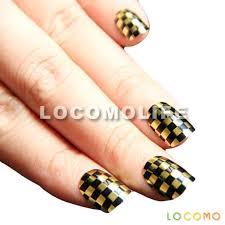 Metallic Gold Black Check Checker False Fake Full Nail Tip Art ...