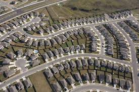 aerial view of suburban homes in texas outline of streets and cul de