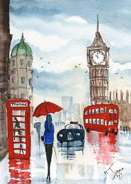original watercolour painting signed london a rainy day by kj carr need to learn how to paint rain