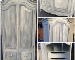 white wood wardrobe armoire shabby chic bedroom. SAMPLE: Vintage French Provincial Armoire, White Washed, Grey, Shabby Chic Wood Wardrobe Armoire Bedroom O