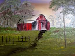 old red rustic barn paintings fine art landscape canvas oil