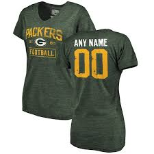 Tri-blend Packers Green Women's By Line Personalized Branded Bay Pro Fanatics Nfl T-shirt Distressed V-neck