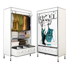 portable clothes closet rolling door wardrobe sy rust proof stainless steel frame fabric cover storage organizer with three drawer boxes clothes closet