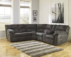 reclining sectional microfiber.  Reclining Tambo Contemporary Pewter Microfiber Reclining Sectional Sofa Intended R