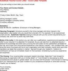 Sample Cover Letter For Substitute Teacher Best Resume Gallery