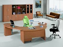 terrific u shaped office table design with green and black rolling chairs