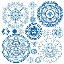 Set of blue floral circle patterns. Background in the style of Chinese  painting on porcelain