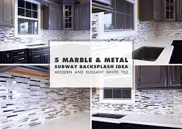modern white marble glass metal backsplash