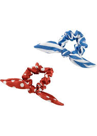 <b>Комплект резинок для волос</b> в полоску и в горошек (2 шт.) - синий ...