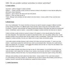 q do you prefer outdoor activities to indoor activities essay outdoor activities