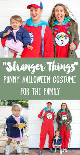 stranger things eleven punny costume for a family of 3