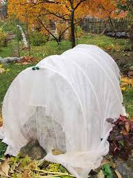 a floating row cover made with shear white cloth and pvc hoops