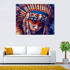 new indian girl paint by numbers kit canvas art diy painting wall decor 40 50cm