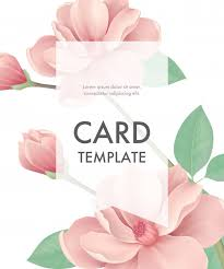 Greeting Card Samples Greeting Card Template With Pink Flowers And Transparent