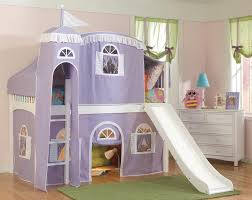 lovely purple castle tent bunk bed curtains with white stairs