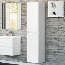 White Corner Bathroom Cabinet Tall Bathroom Cabinet Glass Front Bathroom Linen Cabinet View