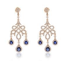 blue sapphire diamond chandelier earrings 14k rose gold