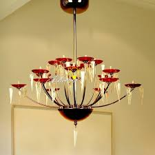 kello modern 18 simple red shades crystal chandelier 8997