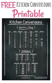 Printable Conversion Chart Kitchen Measures Conversion Titlecompany Info
