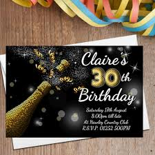 10 personalised black gold chagne burst birthday party invitations n209 any age 18th 21st