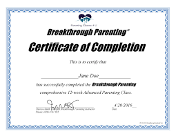parenting certificate templates 13 example of certificate of completion formal buisness letter