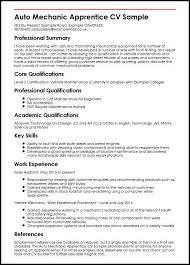 Auto Mechanic Apprentice Cv Sample Myperfectcv