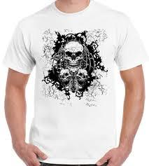 три черепа мужские мотоцикл футболка велосипед байкер мотоцикл готический