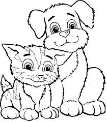 Small Picture Dog And Cat Coloring Pages Inside And Cat Coloring Pages