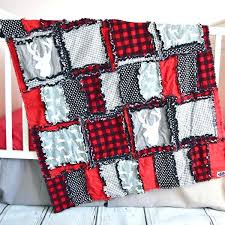 plaid crib bedding red black buffalo reminiscent of lumberjack woodland baby boy nursery set with deer silhouettes sizes and p