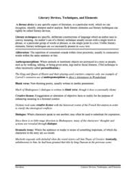 To Kill A Mockingbird Literary Terms Chart Key Literary Devices Lesson Plans Worksheets Lesson Planet