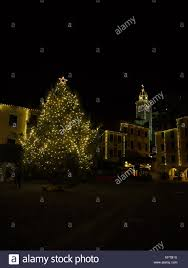 Bell Tower Tree Lighting The Village Of Portofino At Night With The Christmas Tree