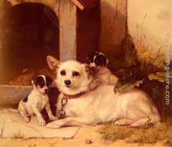 walter hunt mother and puppies resting