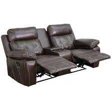 flash furniture reel comfort series 2 seat reclining brown leather theater seating unit with straight